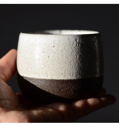 Kubek ceramiczny Toska Ceramica White Dark Brown 200-260 ml Handmade