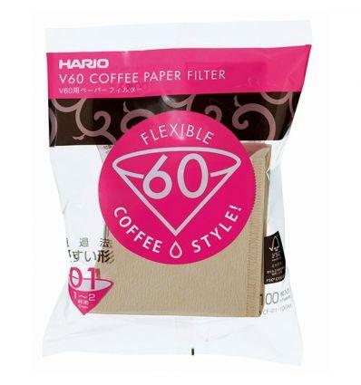Hario filtry papierowe Misarashi brązowe - V60-01 - 100 Sztuk