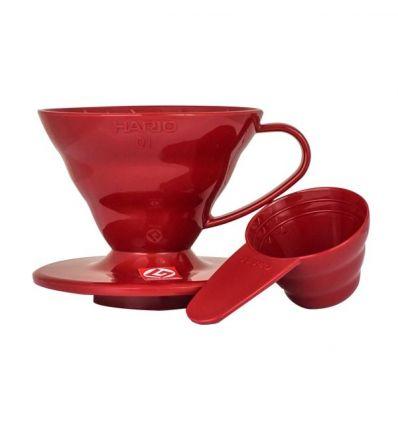 Hario plastikowy Dripper  V60-01 czerwony